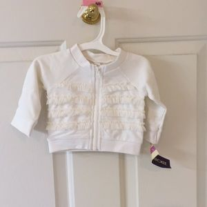 Cherokee newborn girl ruffled zip up jacket cream